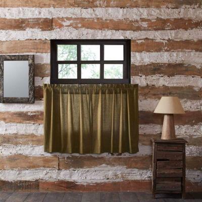 Rustic & Lodge Window Tea Cabin Green Plaid Tier Pair
