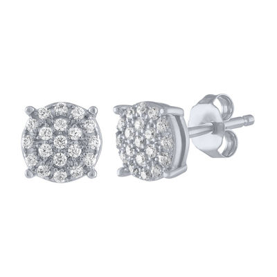 1/4 CT. T.W. Genuine White Diamond 10K White Gold 6.3mm Stud Earrings