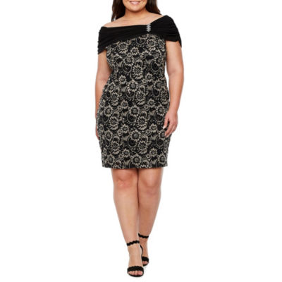 Scarlett Off The Shoulder Lace Sheath Dress - Plus