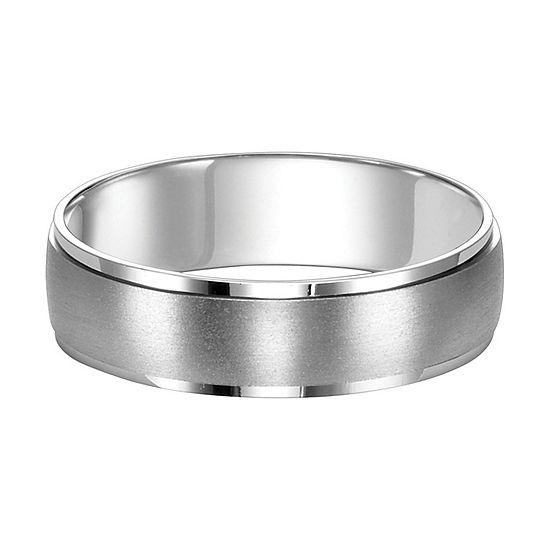 Unisex Adult 6MM 14K White Gold Wedding Band