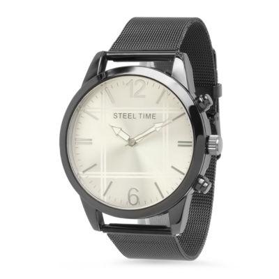 Steeltime Mens Black Bracelet Watch-879-005-W