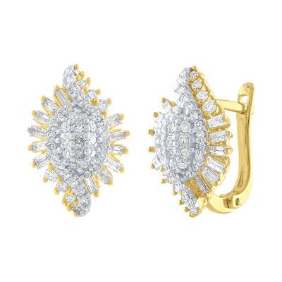 1 CT. T.W. Genuine White Diamond 10K Gold 16.8mm Stud Earrings