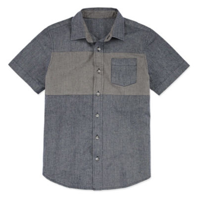 Arizona Short Sleeve Button-Front Shirt Boys 4-20