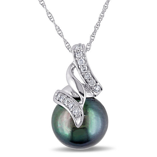 Womens 1/10 CT. T.W. Black Cultured Tahitian Pearl 10K White Gold Pendant Necklace
