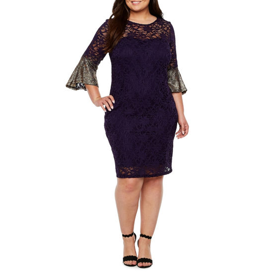 Blu Sage Glitter Bell Sleeve Lace Dress - Plus
