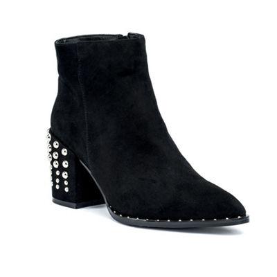 GC Shoes Womens Terry Booties Block Heel Zip