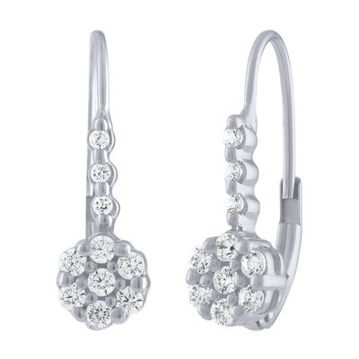 Diamond Blossom 1/4 CT. T.W. Genuine White Diamond 10K White Gold Drop Earrings