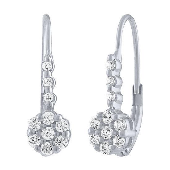 Diamond Blossom 1/4 CT. T.W. Genuine White Diamond 10K White Gold Drop Earrings