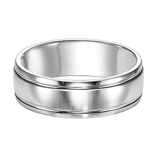 Unisex Adult 7MM 14K White Gold Wedding Band