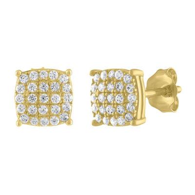 1/4 CT. T.W. Genuine White Diamond 10K Gold 7mm Stud Earrings