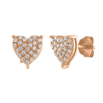 1/4 CT. T.W. Genuine White Diamond 10K Rose Gold 7mm Heart Stud Earrings