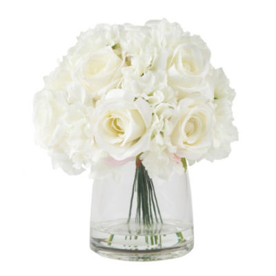 Pure Garden Hydrangea And Rose Floral Arrangement