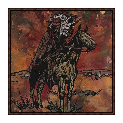 Sioux Rider Framed Canvas Art