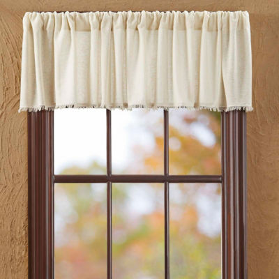 Farmhouse Window Tobacco Cloth Fringed Valance