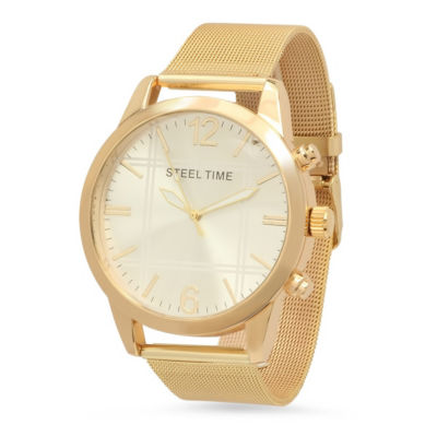 Steeltime Mens Gold Tone Bracelet Watch-879-006-W