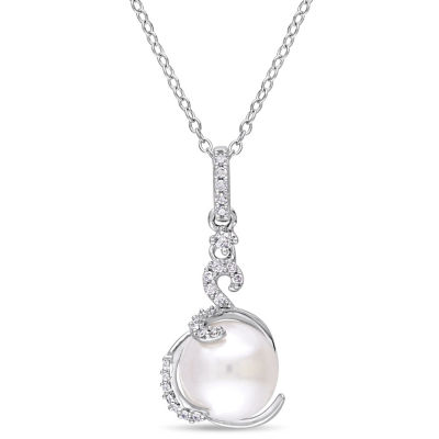 Womens 1/8 CT. T.W. White Cultured Freshwater Pearl Pendant Necklace