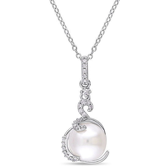 Womens 1/8 CT. T.W. White Cultured Freshwater Pearl Sterling Silver Pendant Necklace
