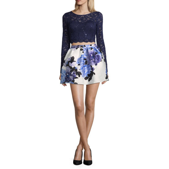 Speechless Long Sleeve Floral Fit & Flare Top & Skirt Set-Juniors