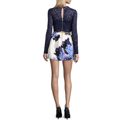 Speechless Long Sleeve Floral Fit & Flare Dress-Juniors