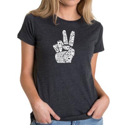 Los Angeles Pop Art Women's Premium Blend Word ArtT-shirt - PEACE FINGERS