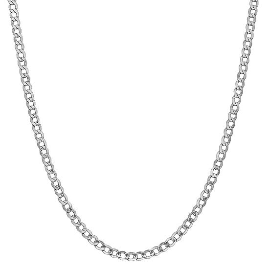 14K White Gold 24 Inch Semisolid Curb Chain Necklace