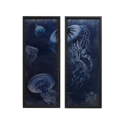 Madison Park Signature Jellyfish Set of 2 Wooden Wall Art With Graphics