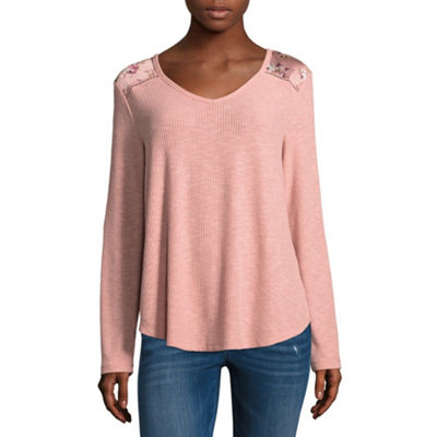 Cut And Paste Womens V Neck Long Sleeve Jersey Blouse-Juniors