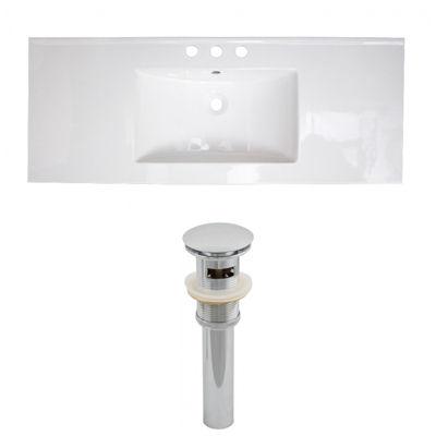 48-in. W 3H8-in. Ceramic Top Set In White Color -Overflow Drain Incl.