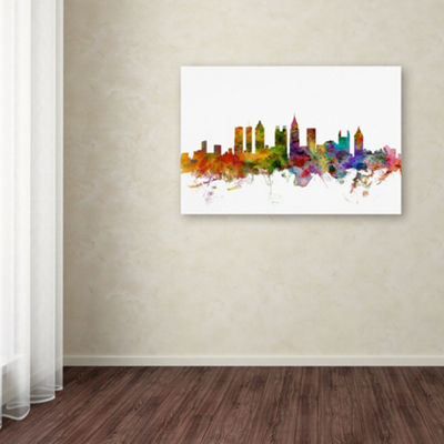 Trademark Fine Art Michael Tompsett Atlanta Georgia Skyline Giclee Canvas Art