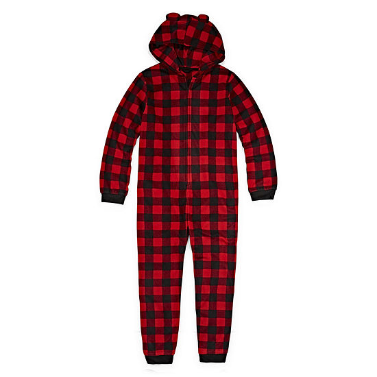 North Pole Trading Company Plaid Bear 1 Piece Pajama - Unisex Kid's