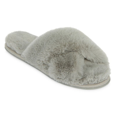 Mixit Fuzzy Cross Band Slip-On Slippers