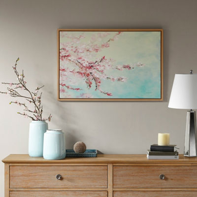 Madison Park Cherry Blossom Bloom Gel Coat FramedCanvas Art