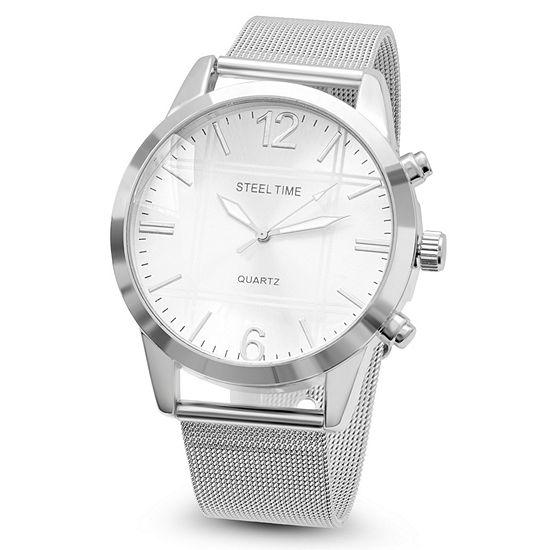 Steeltime Mens Silver Tone Stainless Steel Bracelet Watch-879-004-W