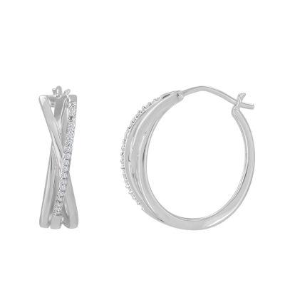 1/10 CT. T.W. White Diamond 14K White Gold Over Silver Hoop Earrings