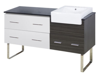60.75-in. W Floor Mount White-Dawn Grey Vanity SetFor 3H4-in. Drilling Black Galaxy Top
