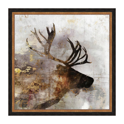 Golden Reindeer Framed Canvas Art