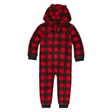 North Pole Trading Company Plaid Bear 1 Piece Pajama - Unisex Toddler