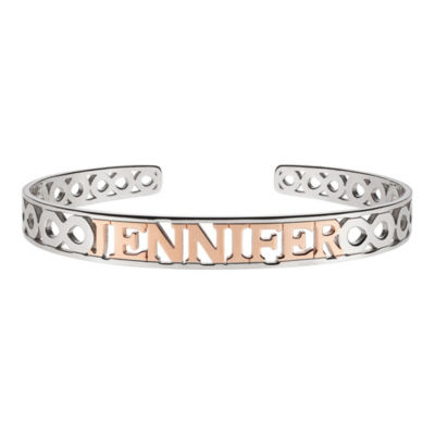 Personalized 14K Two Tone Gold Over Silver Bangle Bracelet
