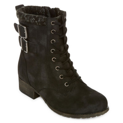 Pop Womens Ricardo Lace Up Boots Block Heel Zip