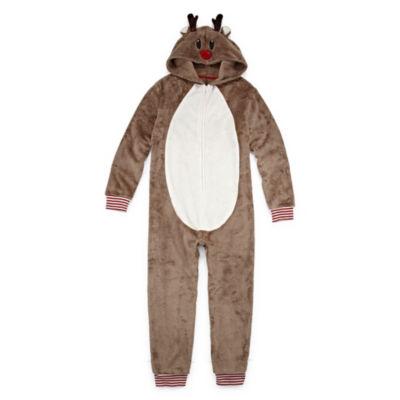 North Pole Trading Company Reindeer 1 Piece Pajama - Unisex Kid's