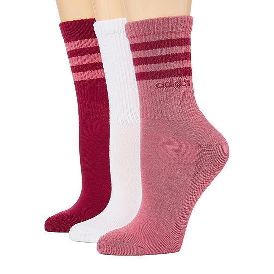 Adidas 3 Pack Striped Crew Socks- Womens