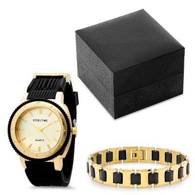 Steeltime Mens Black Bracelet Watch-954-003-Bw
