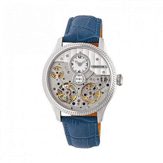 Heritor Unisex Adult Automatic Blue Leather Strap Watch-Herhr7303