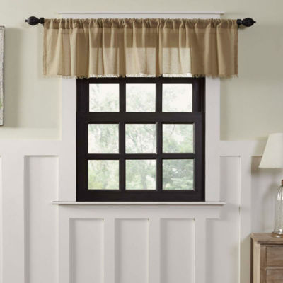 Farmhouse Window Tobacco Cloth Fringed Valance