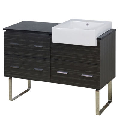 48.75-in. W Floor Mount Dawn Grey Vanity Set For 1Hole Drilling Black Galaxy Top