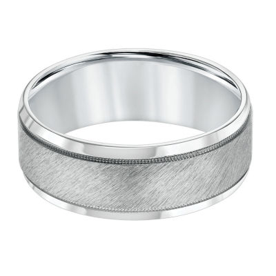Unisex 8mm 14K White Gold Wedding Band