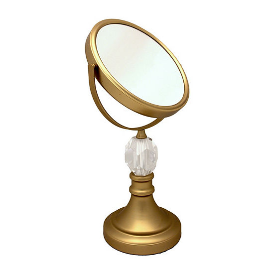 Satin Gold Mirror With Clear Acrylic Diamond
