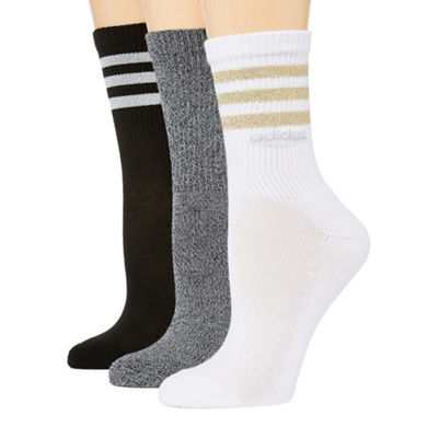 adidas Womens 3Pk 3 Stripe Crew Socks