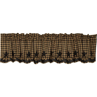 Primitive Window Black Star Scalloped Layered Valance