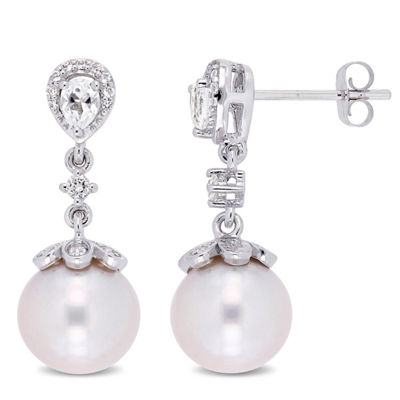 White Cultured Freshwater Pearl 10K White Gold Drop Earrings